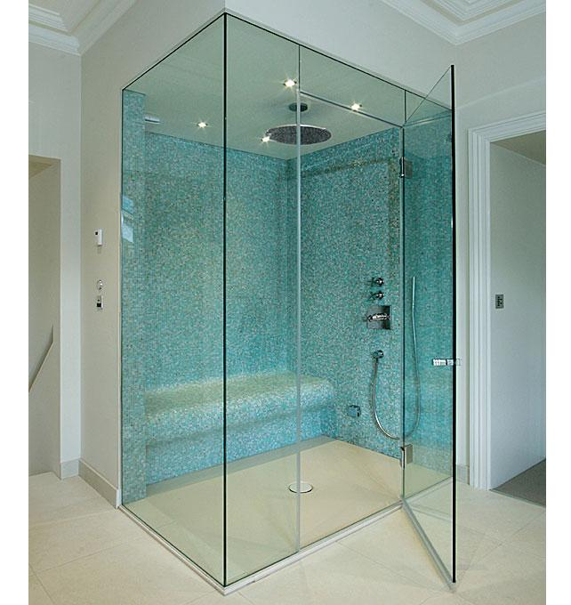 Frameless glass steam rooms sauna screens for Frameless glass doors